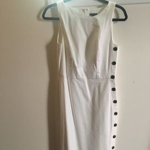 NWOT/ Ann Taylor knee length dress in white/ lined